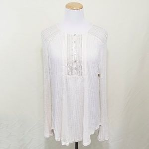 Lucky Brand ivory lace long sleeve tee button down